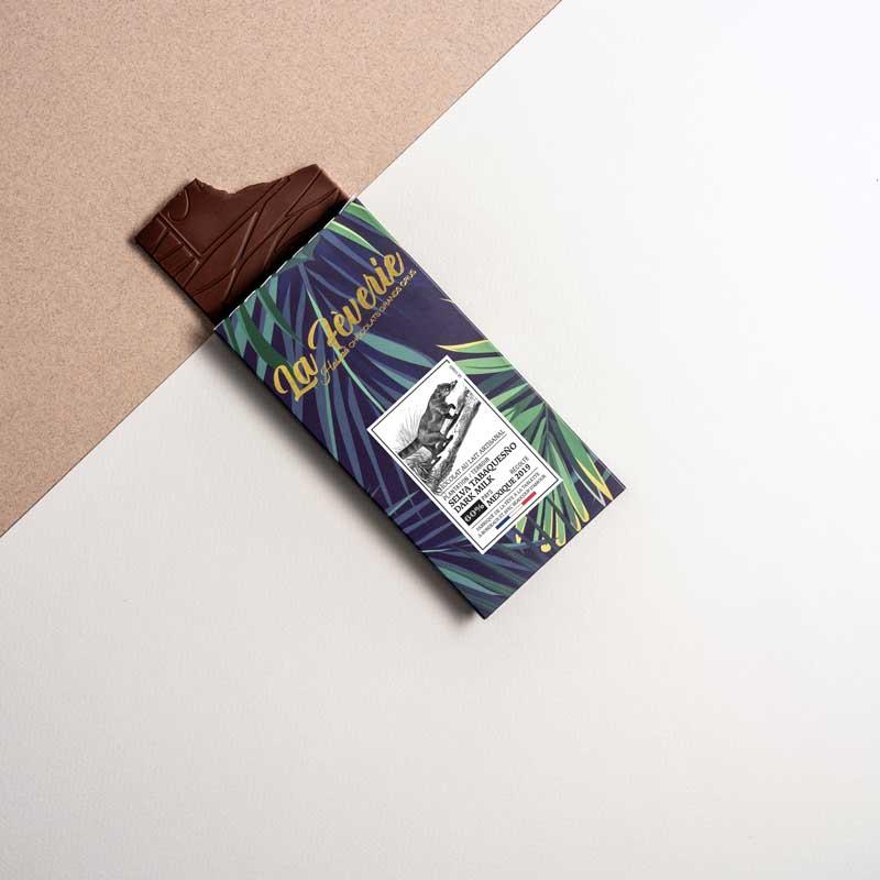 Selva Tabasqueno dark milk 60% : notes douces et gourmandes d'amande fraîche, sur un final crémeux de caramel fleur de sel et réglisse